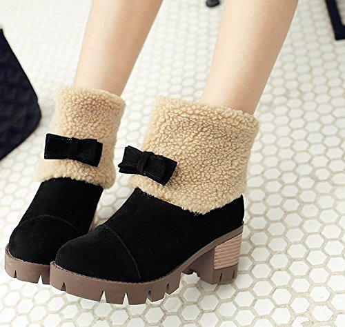 Mee Shoes Damen Nubukleder warm gefüttert chunky heel kurzschaft Stiefel Schwarz