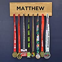 Pushka Home Wooden Personalised Medal Hanger Display Achievement Board.