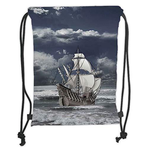 Drawstring Backpacks Bags,Landscape,Cloudy Sky Caribbean Pirates Ship Oil Print Like Art Image,Blue Grey Light Grey and White Soft Satin,5 Liter Capacity,Adjustable String ()