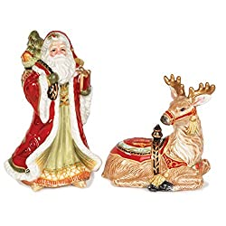 Fitz & Floyd Damask Holiday Collection Salt & Pepper Shaker Set, Vintage Red & Gold By Fitz & Floyd
