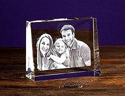 Isonio Glasfoto - Ihr eigenes Foto in Viamant Glas gelasert - Foto im Kristallglas als Fotogeschenk (Größe L Querformat 135 x 105 x 35mm)