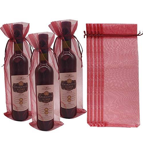 Hermosas bolsas de vino de organza, con cordón de satén a juego. Las bolsas de alto tamaño son perfectas para botellas de vino, condimentos gourmet, velas, botellas de champú, lociones, cuerpo de baño y otros regalos altos o en forma de olor. Moda y ...