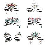 Viso gemme, Ynredee 6set donna Mermaid rave festival glitter, cristalli strass tatuaggio temporaneo Face gioielli faccia adesivi per sopracciglia, viso corpo gioielli