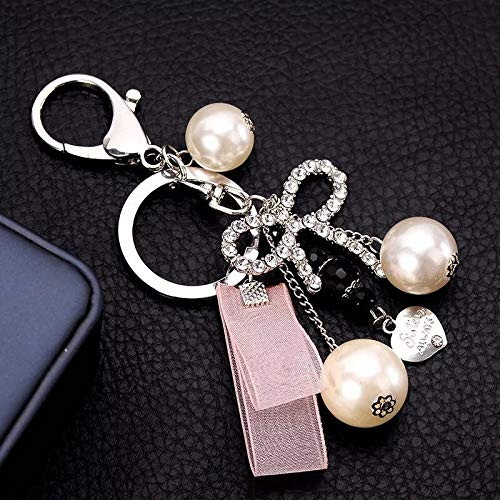 UDBOK Schlüsselbund New Crystal Bow Keychains Ribbon Key Chain Perle Herz Autoschlüssel Ringe Weiblichen Taschen Anhänger Zubehör Schlüsselanhänger, Pink
