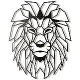 Metal Wall Art Geometric Lion Head, Home Décor Wall Hanging