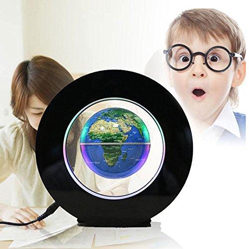 Gladle Globe flottant 4 '' avec lumières DEL magnétiques Globe terrestre flottant de lévitation, carte bleue, UE