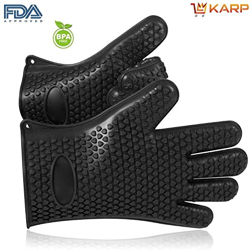 Oven Gloves - Silicone Baking & BBQ Insulated Gloves - Heat Resistant Grilling Cooking Gloves, Oven Mitt, Barbecue Mitts, Silicone Hand Gloves - Protect Your Hands And Avoid Accidents – Barbecue Gloves By KARP - Sold By Pair - Black Color