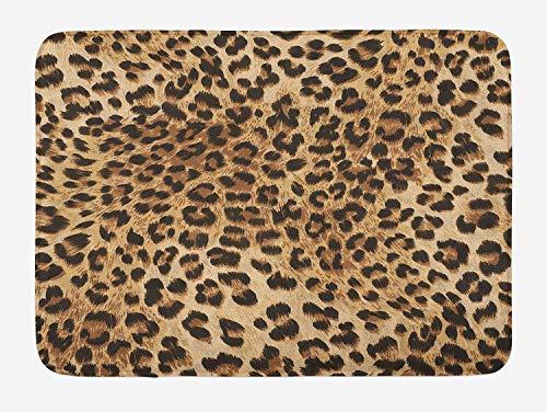vrupi Alfombrilla de baño de Leopardo Fauna Salvaje Potente Panthera patrón de Piel de Gato Grande Alfombra de Estudio Villa Piso Estudio Alfombra 40x60cm Franela Tela Antideslizante