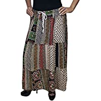 Mogul Interior Ladies Gypsy Maxi Skirt Adele Patchwork Printed Retro Flared Peasant Skirts SM