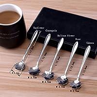 Cucchiai, Cozyswan Acciaio inox Cucchiaio floreali per il pompelmo, gelato, tè, Piccolo caffè, zucchero, gelatina, torta, farina d'avena, Espresso e dessert - cucchiai d'argento, Set di 5