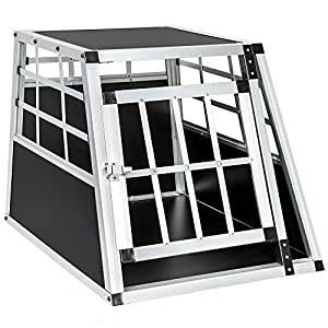 TecTake Cage box caisse de transport pour chien mobile aluminium single 54x69x50cm