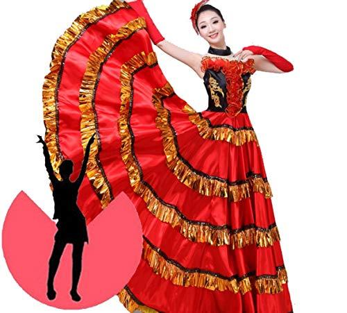 �ne Weibliche Plus Größe Bauchtanz Rock Spanischen Flamenco Kleid Bühne Team Wear Lace Satin,540°,XXL ()