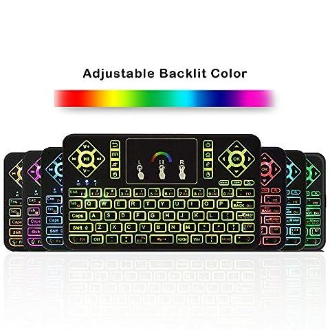 Kinglechange Q9Mini clavier avec Touchpad 2,4GHz réglable coloré rétro-éclairé télécommande sans fil pour Kodi XBMC Android TV Box PC Windows Apple TV IPTV Rasberry Pi pour ordinateur portable MacBook PC Vidéoprojecteur