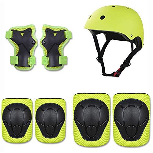 CULASIGN 7pcs Kinder Sport Schutzausrüstung Set Helm Ellenbogenschoner Knieschoner Handgelenkschoner Set Verstellbar für Fahrrad Motorrad Skateboard Schifahren 3-8 Jahres Junge Mädchen (Grün)
