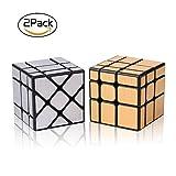 Speed Cube Ensemble de 2 Gold Mirror S Cube, Silver Windmirror Cube, Irrégulier Speedcubing 3x3x3 Twisty Box Puzzle avec Deux Roxenda Stands