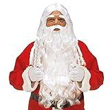 Widmann X1524 Luxus Weihnachtsmann Set mit Lockenperücke, Maxi Bart mit Schnurrbart und Augenbrauen, weiß