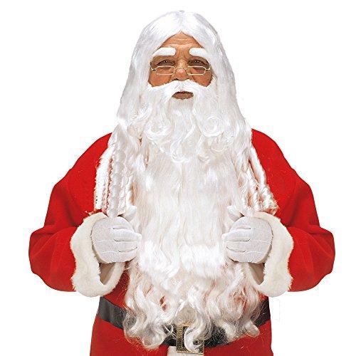 WIDMANN X1524 Luxus Weihnachtsmann Set mit Lockenperücke, Maxi Bart mit Schnurrbart und Augenbrauen, ()