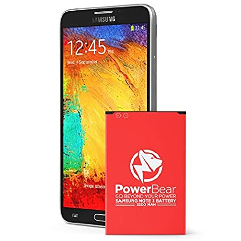 PowerBear Note 3 Batterie | 3200 mAh Li-Ion Batterie pour le Samsung Galaxy Note 3 [N9000, N9005 LTE, AT&T N900A, Verizon N900V, Sprint N900P, T-Mobile N900T] | Note 3 Batterie de Remplacement [24 Mois Garantie]