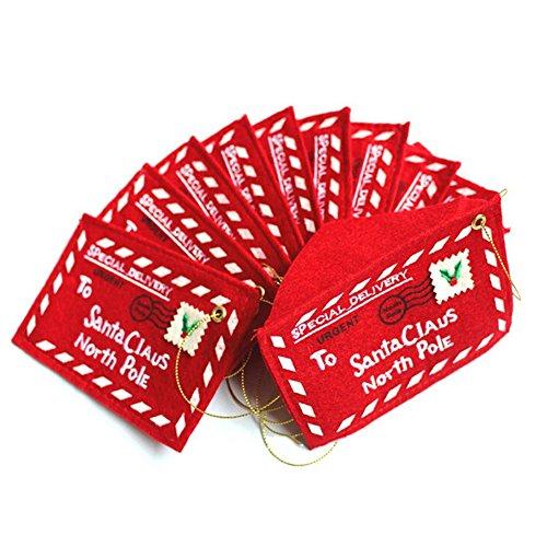YARBAR 10PCS di Natale di Santa Wishing Buste Red Letter feltro ricamati Albero di Natale Decor ricamo di Natale