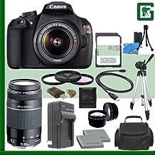 Canon EOS Rebel T5Kit de cámara réflex digital w/18–55mm IS II lente y Canon 75–300mm III USM lente + 32GB Verde de la cámara paquete 1