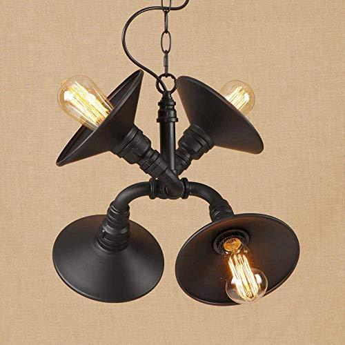 C-LT Pendelleuchten Lichter Vintage Eisen Metall Pendelleuchte Led 3 Lampe Pendelleuchte Leuchte E27 110 v 220 v für Küchenlampen Lichter Schrank Studie Esszimmer Bar, Matt-schwarz -