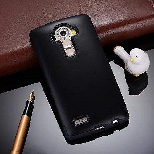 YHUISEN LG G4 Case, 2 In 1 PC + TPU Armor Hybrid Dual Layer Schutz Schock Absorption Hard Back Cover Case für LG G4 ( Color : Rose Gold ) Black