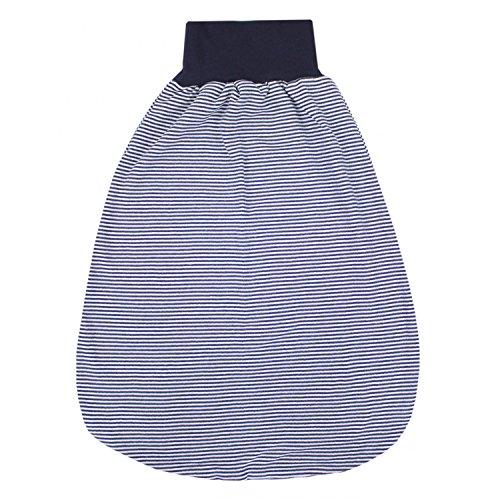 TupTam Unisex Baby Strampelsack mit breitem Bund Unwattiert, Farbe: Streifenmuster Dunkelblau, Größe: 0-6 Monate