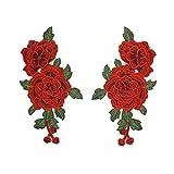 WINOMO Broderie Rose Fleur Coudre Sur Patch Applique Artisanat pour Jeans Vêtements Chapeau Chaussures 2 PCS (Rouge)