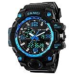 Digitale Armbanduhr Herren Outdoor Sport Uhren Dual Display Armbanduhren Wasserdicht PU strap (1)