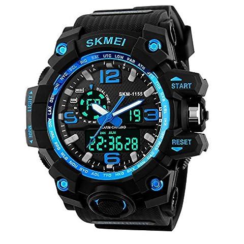 Skye Reker Digitale Armbanduhr Herren Outdoor Sport Uhren Dual Display Armbanduhren Wasserdicht PU strap