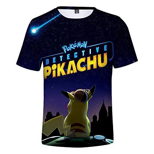 Fairy jj Unisex 3D Print T-Shirt Persönlichkeit Sommer Casual T-Shirt, Pikachu Digital Print 3D Kurzarm T-Shirt (Oder Pikachu Junge Ein Ist Mädchen)