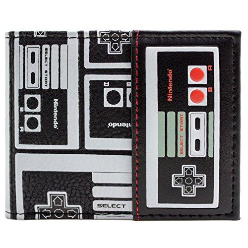 Nintendo NES Controller Gemusterte Gaming Schwarz Portemonnaie Geldbörse