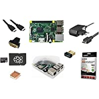Starter 8er Set : Raspberry Pi 2 Model B / 2A Netzteil 2000 mA / transparentes Gehäuse / Wifi Dongle Edimax 7811 / 8GB Speicherkarte / HDMI Kabel / Adapter HDMI auf DVI / Kühlkörper