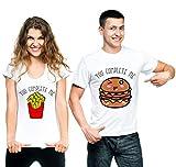 t-shirteria Coppia T-Shirt San Valentino You Complete Me Hamburger e Patatine -...