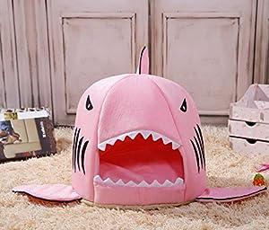 2 EN 1 Panier de Haute Qualité Maison en Forme de Requin très Mignon Niche de Chien avec Coussin Amovible pour Chiot Chien Chat etc Gris/Rose