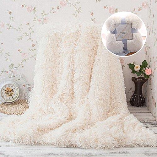 Couverture couvre-lit Polaire Couvre-lit en Fausse Fourrure Réversible Douce au Toucher 130*160 cm Chaude longue de Canapé lit Tapis (Crème blanche)