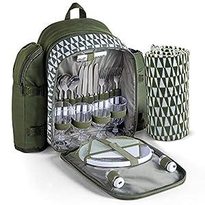 VonShef Geo-Picknick-Rucksack für 4 Personen – Grün – Wasserdicht & Isoliert – Picknick/Outdoor/Essen im Freien Set für 4 mit Zubehör
