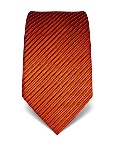 Vincenzo Boretti Herren Krawatte aus reiner Seide, gestreift, in vielen Farben,orange