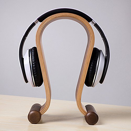 Image of SAMDI Wooden Headphone Stand Headphone Holder Headset Hanger Headset Rest - For All Headphone Size In Brich (Brown)