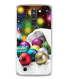 PrintVisa Designer Back Case Cover for LG K7 :: LG K7 Dual SIM :: LG K7 X210 X210DS MS330 :: LG Tribute 5 LS675 (Christmas Blue Gold Winter Celebration Greeting)