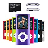 Mymahdi MP4 MP3 / Portable, 1.8 Inch devaient Purple With and led Screen Micro SDHC Card Slot, Max Support 128GB Micro é t TF Card