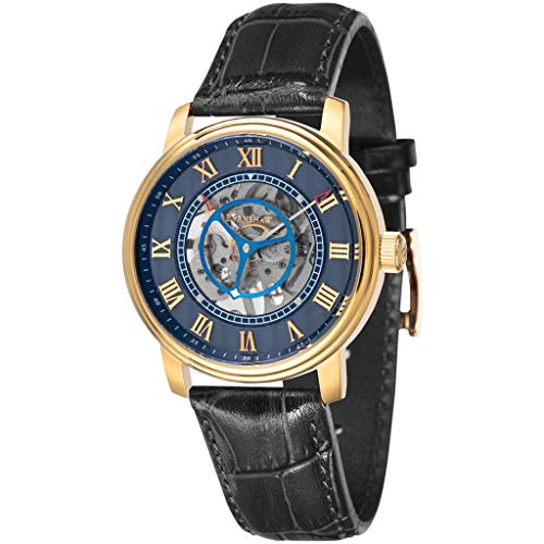 Thomas Earnshaw Men's Westminster 42mm Black Leather Band Gold Plated Case Mechanical Watch ES-8096-02