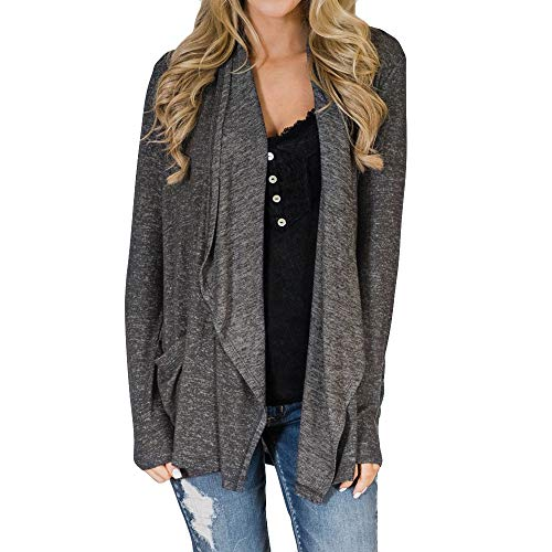 TWBB Damen Trenchcoat,Einfarbig Mode Pullover Mit Tasche Mantel Blouse T-Shirt Tops Strickjacke