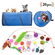 Legendog Cat Toys, 20PCS Kitten Toys Cat Toys for Indoor Cats Cat Tunnel Cat Feathers Wand Interactive Cat Toys for Kitty and Cats