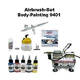 Komplett Airbrush Set Body-Painting 9401 Evolution Silverline 2in1 + Saturn 25 Kompressor