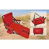 VARILANDO klappbarer großer Strandsessel in 7 Varianten Strandsitz Gartensessel (Rot)