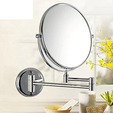 specchio di vanità bagno/Double-sided specchio pieghevole/Parete specchio telescopico/ ottone magnifying glass-B