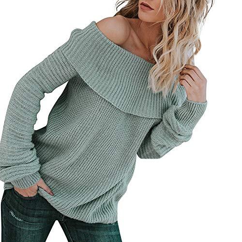 JiaMeng Strickpullover Off The Shoulder Damen Pullover Jumper Strick Pulli Oversize Langarm Strickpulli Stricksweatshirt