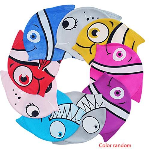 UHAoo BOIHON Cartoon-Tierform-Schwimmen-Hut-Kind-Schwimmen-Kappe Silikon Stretch Wasserdicht Junge Mädchen Schwimmen Hut zufällige Farbe (Schwimmen-kappen Für Kinder)