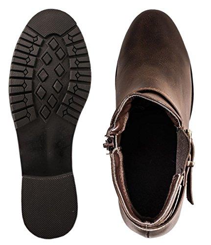Elara Chelsea Boots | Bequeme Damen Stiefeletten | Lederoptik Blockabsatz Braun York